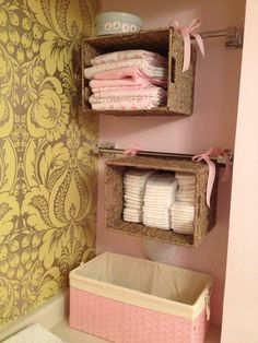 Baby change table organization.