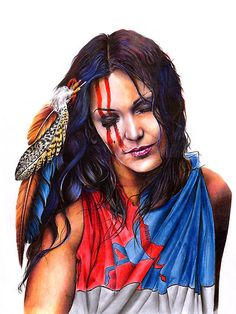 """""""Living In Two Worlds"""" by Peter Williams. A coloured pencil portrait of a modern girl, proud of her Native American heritage."""