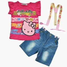 Hello Kitty Clothing Set //Price: $22.99 & FREE Shipping // World of Hello Kitty http://worldofhellokitty.com/baby-girls-clothing-summer-sets-childrens-clothing-sets-hello-kitty-cartoon-t-shirt-suspenders-denim-shorts-set-children-sets/    #childrensworld