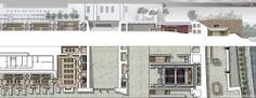 """Tesi di Laurea - FORO ITALICO - ROMA """"il FORO ITALICO di Roma, un luogo tra monumento ed organismo urbano: riqualificazione architettonica, urbana e paesistica""""  SISTEMA IPOGEO_planimetria e sezione"""