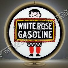 White Rose Boy 13.5 Inch Gas Pump Globes - Vic's 66 - Gas Pump Parts, Globes and Memorabilia