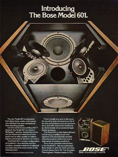 Ad for the innovative Bose 601. Far better than their new speakers!