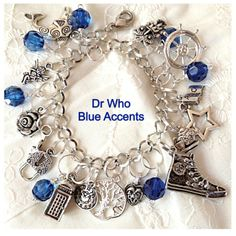 Dr Who Charm Bracelet Blue  Accents With Tardis from Uber Jewelry Designs for $29.99 on Square Market
