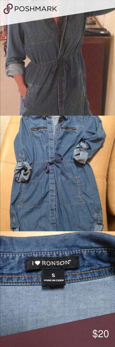 Chambray snap-front short length shirt dress New condition. No flaws. Laundered but not worn. Snaps all the way down, drawstring waist. Long sleeves can be rolled. Great for layering or accessorizing. Size S fits 2/4. Length 33 inches. Dresses Mini