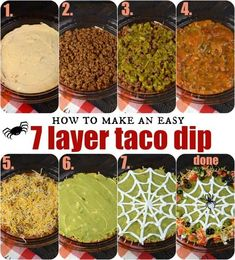 Easy Spooky Halloween 7 Layer Taco Dip Recipe Easy steps to making a 7 Layer Taco Dip recipe! Easy Spooky Halloween 7 Layer Taco Dip Recipe Easy steps to making a 7 Layer Taco Dip recipe! Halloween Dip, Halloween Desserts, Entree Halloween, Theme Halloween, Hallowen Food, Halloween Party Snacks, Halloween Goodies, Halloween Food For Party, Halloween Appetizers For Adults