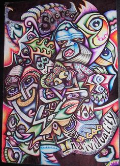 101112 © Ball Point Pens on Paper 21 x 29 cm by Kelly Boyle. #phantasmagorical_art #vibrant #Ballpoint #pen #art #lowbrow #outsider #drawing #illustration