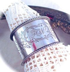 Antique Victorian STERLING NAPKIN RING James by DaffodilsVintage