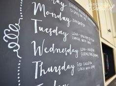 Chalkboard paint on an ugly refrigerator. I want to do this to the refrigerator and freezer in the garage!