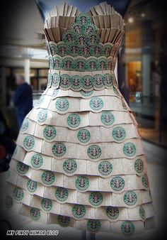 Wearable art... we have done this with Formica® sample chips, too - how fun! #DIY #upcycle #reuse