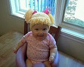 Newborn to 6 mo Baby Doll Hat with Pig Tails. $20.00, via Etsy. -- bald baby? no problem, wig hat hahahaha so cute