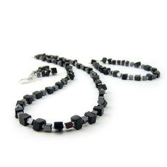Aurora Patina Ketting, armband en oorbellen set van zwart onyx en hematiet - Aurora Patina