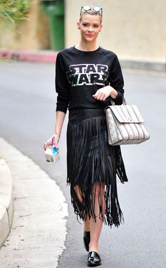 Jaime King from Celebrity Street Style  Four words: Out of this world! The mom-of-two nails this Kohl's Star Wars sweatshirt and fringed black skirt combo.