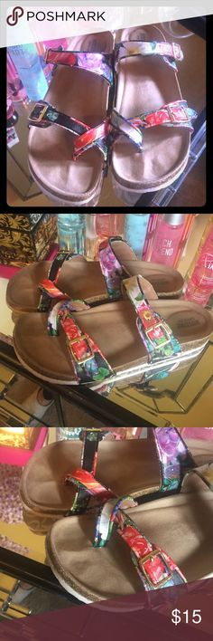 Floral Sandals Floral leather straps with gold buckles, slide on sandals, barely worn Mossimo Supply Co Shoes Sandals