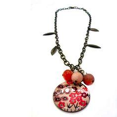 Pendiente Vintage en bronce antiguo, resina y piedras naturales