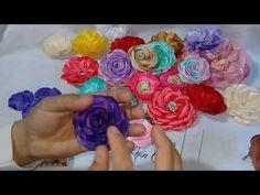 FLOR DE CIRCULOS - YouTube Fabric Ribbon, Ribbon Bows, Fabric Flowers, Ribbon Flower, Organza Ribbon, Flower Video, Kanzashi Flowers, Flower Hair Accessories, Elegant Flowers