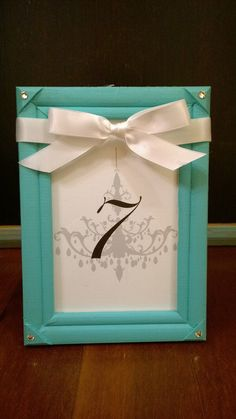Tiffany and Co and Something Blue Inspired Table Numbers
