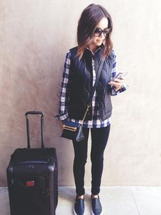 Ingrid Nilsen feat. Leather pants, slip on flats, long wavy bob and chic sunnies /// airport style