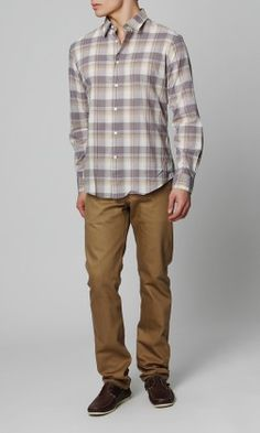 John Varvatos basic point collar plaid shirt $150