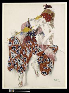 "Costume Study for Nijinsky in the role of Iksender in the ballet ""La Peri"" - Leon Bakst, Lev Samoïlevitch, 1922"