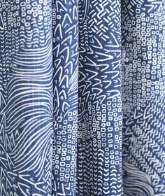In stock! Blue & White fabric with global, hand drawn feel. Sketchwork, Calypso by @dwellstudio
