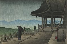 "Japanese Art Print ""Kiyomizu Temple in Rain (Ame no Kiyomizu)"" from the Series ""Souvenirs of Travels (2nd Series)"" by Kawase Hasui. Shin Hanga and Art Reproductions http://www.amazon.com/dp/B00ZNZK7VY/ref=cm_sw_r_pi_dp_o7.swb12HWT0P"