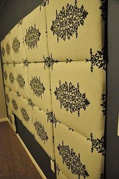 How To Make a Fabric Headboard. Great,   inexpensive, idea! (Way cute alternative to the tufted   headboards)