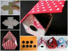 These adorable birdhouse treat boxes make great birthday party favors! You can make your own with this simple step-by-step tutorial! Diy And Crafts, Crafts For Kids, Arts And Crafts, Paper Crafts, Birdhouse Craft, Diys, Diy Cardboard, Fabric Houses, Little Boxes