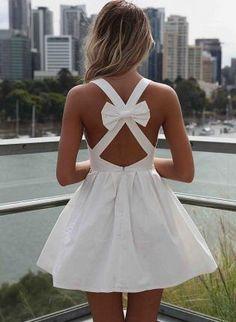 White Sleeveless Mini Dress with Open Cross Bow Back,  Dress, cutout dress  white dress, Chic