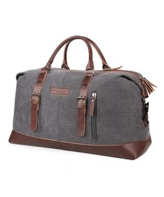 e6f18c73a5a Duffel Bag 45L Canvas Weekend Bag Unisex Gym Bag Carry on Travel Tote for  Men Women - Gray - Gray - CV1839CO885
