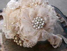 Brooch Bridal Bouquet, Jewelry bouquet, Fabric Flower Bouquet - Vintage Wedding