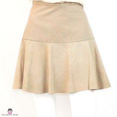 Box Pleat Lamb Leather Skirt