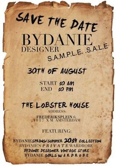 ByDanie sample sale -- Amsterdam -- 30/08