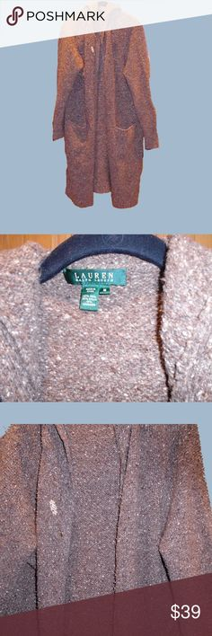 "Ralph Lauren long cardigan with hood. Woman she M Lauren/Ralph Lauren large loop long buttonless sweater with hood. Chunky knit in shares of brown, taupe and cream. Size is Woman's Medium. 60% wool, 30% nylon and 10%  cashmere. This was sold in stores with a decorative metal pin which can be seen in some of the pictures. I'm 5'4"" and this comes down to about 4 inches below my knees. As in all chunky knit sweaters if a loop gets snagged by anything don't cut it. Use a crochet hook to pull the…"