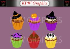 Halloween Cupcakes Clip-art Set in a PNG file format. Personal & Small Commercial use Cupcake Clipart, File Format, Halloween Cupcakes, School Projects, Commercial, Clip Art, Invitations, This Or That Questions, Digital