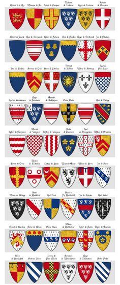 Modern illustration of The Dering Roll of Arms - Panel 1 - arms 1 to 54