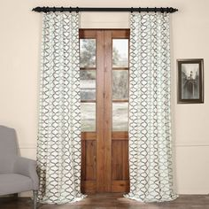 Illusions Blue 96 In. X 50 In. Printed Cotton Curtain Panel Half Price Drapes Panels & Pan