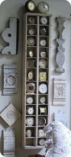 scraps of shabby wood & clock collection display! Old Clocks, Vintage Clocks, Alarm Clocks, Antique Clocks, Ideas Para Organizar, Creation Deco, Architectural Salvage, Architectural Elements, Architectural Features