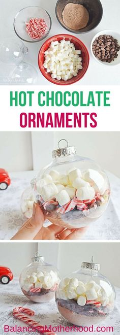Gift-giving made easy with this DIY hot chocolate ornament. All you need are a few ingredients and some clear, fillable ornaments. Make great teacher gifts, party favors, and additions to gift cards or other gifts. #diychristmasornaments #christmas #hotchocolateideas