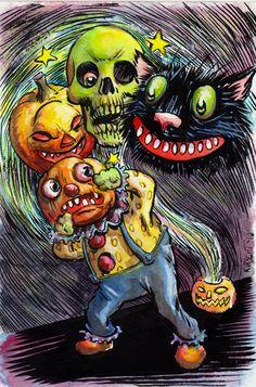 Trixie's Treats: 31 Days of Halloween: Matthew Kirscht! Halloween Art Projects, Halloween Artwork, Retro Halloween, 31 Days Of Halloween, Halloween Pictures, Halloween Horror, Halloween Season, Halloween Illustration, Illustration Art