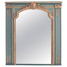 French 18th Century Louis XV Painted and Gilt Trumeau Mirror