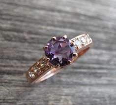 Purple Amethyst Ring in Rose Silver- February Birthstone Ring- Engagement Promise Ring- Free Custom Ring Engravings- Silver Stone Rings on Etsy, $98.99