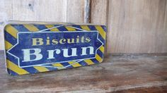 Vintage tin  french yellow and blue brun by ancienesthetique, $20.00