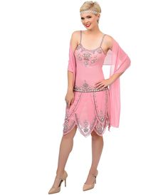 Roaring 1920s Pink Beaded #Flapper Gatsby Dress #uniquevintage
