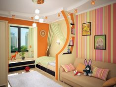 30 Ideas For Children's Room Design Kids Bedroom Designs, Kids Room Design, Nursery Design, Interior Walls, Luxury Interior, Nursery Set Up, Modern Wall Paneling, Stripped Wall, Cosy Home