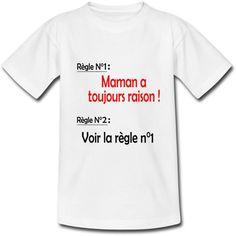 t shirt personnalisé enfant maman a toujours raison inscription en rouge et noir