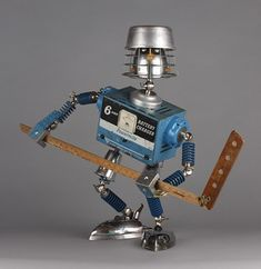 Recycled Robot, Recycled Art, Repurposed, Found Object Art, Found Art, Metal Robot, Diy Robot, Cool Robots, Marionette