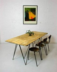 Large Vintage Pine Plank Dining Table with Industrial Metal Legs Trestle Desk Table, Dining Furniture, Furniture, Diy Dining Room, Diy Dining Room Table, Wood Slats, Dinning Table, Steel Furniture Design, Dining Table
