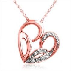 """Jessica Simpson, """"I Am Irresistible"""", 10K Rose Gold Tilted Heart Necklace, .05 ctw."""