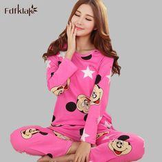 04c822f17c Primavera Otoño Mujeres de Dibujos Animados Pijamas Chándal Para Mujer  camiseta de Manga Larga Pijamas Pijamas