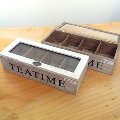 """Wooden storage box with glass top. 4 Divider to put your different favorite tea bags. Perfect as a gift or your tea bag organizer. Size approx.: 10.5"""" x 3"""" x 4.5""""."""